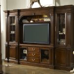 Cherry Wooden Furniture With Storage Places On Left And Right Sides Drawers With Large TV