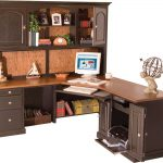Classic Home Office Desk Corner Design With Brown Wooden Style