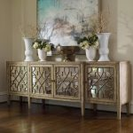 Classic Mirrored Console Cabinet With Four Main Storage And Decoration