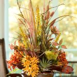 Cool And Fresh Decoration With Fall Center Pieces On Round Table