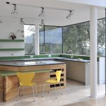 Cool Green And White Of Modern Kitchen With Island Kitchen Units