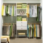 Corner clothes closet  storage idea by Martha Stewart with drawer system and shelves in the center