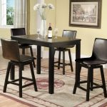 Counter Height Dinette Set With Armless Chairs And Wooden Table Stylish Rug In Yellow Room