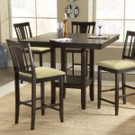 Counter Height Dinette Set With Wooden Table And Four Chairs Warm Rug Of Dining Room