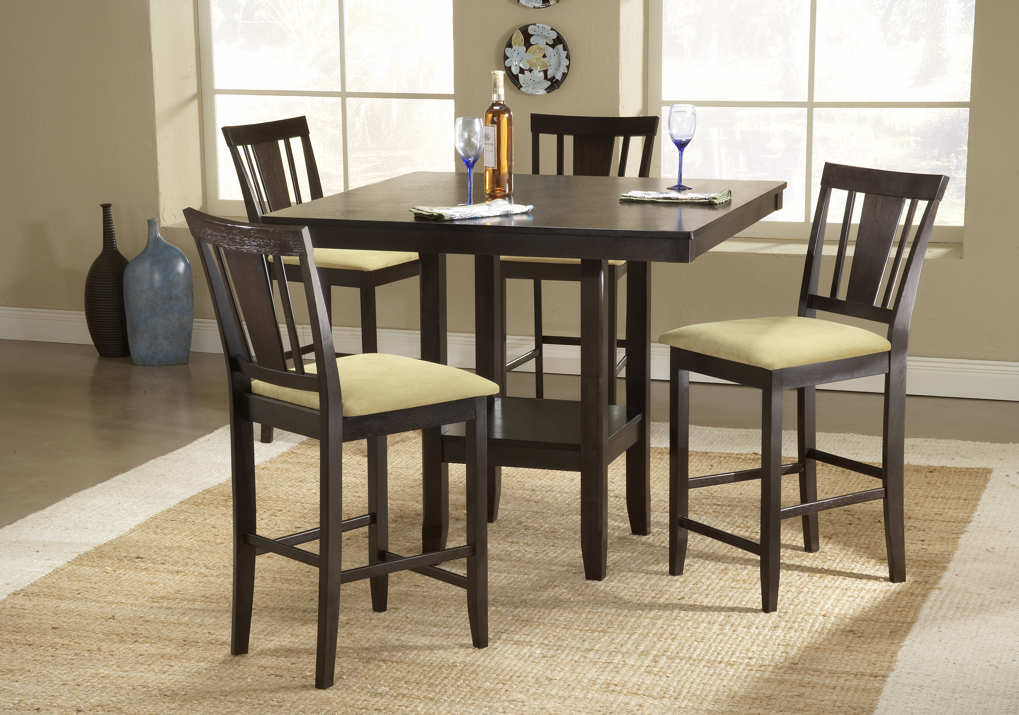 Counter Height Dinette Sets HomesFeed : Counter Height Dinette Set With Wooden Table And Four Chairs Warm Rug Of Dining Room from homesfeed.com size 3450 x 2420 jpeg 5975kB