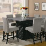 Counter Height Dinette Sets With Grey Chairs And Marble Table White Rug And Large Windows