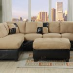 Cream And Dark Brown Color Of 2 Piece Sectional Sofa With Chaise