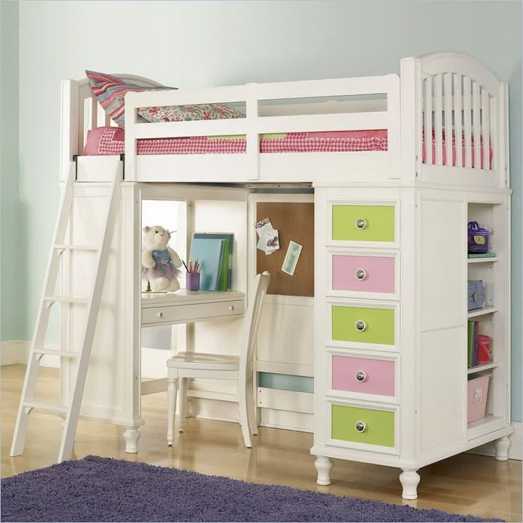 Cute And Attractive Loft Bed Ikea In White Which Is Completed With Stairs Working Desk