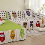 Cute slipcover for sectional sofa with angry bird theme small white shag rug some decorative pillows with angry bird themed pillowcases