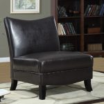 Dark Black Big Leather Slipper Chair
