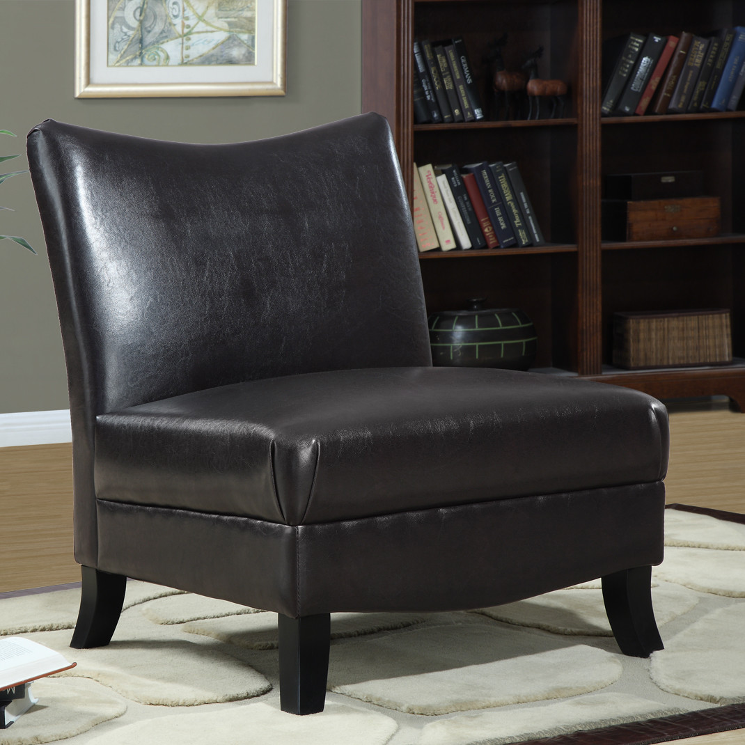 Dark Black Leather Slipper Chair