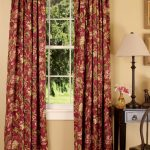 Dark Color Of Red Toile Curtains Near Side Table