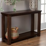 Dark Wood Tall Console Table With Bottom Shelf For Baskets