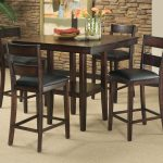 Dark Wooden Counter Height Dinette Table Set With Chairs In Room With Rocks Design
