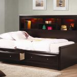 Dark Wooden Frame Bed For Twin With Drawers Underneath And Shelves On Bed Side