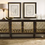 Dark Wooden Mirrored Console Cabinet With Four Storage Table Lamp And Frames