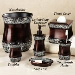 Dark Wooden Sparkle Bath Accessories Sets
