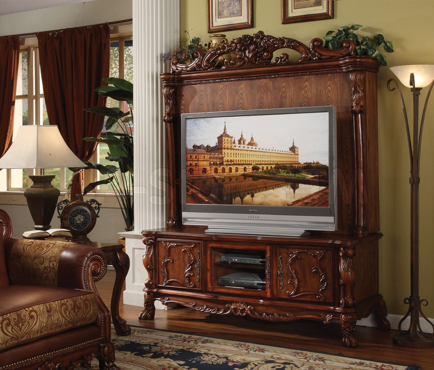 Decorative Cherry Wood Entertaining Furniture With Grey Large Tv And Storage Place On Bottom Part