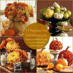 Decorative Fall Center Pieces With Flower Pumpkins And Candles