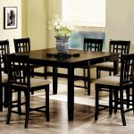 Dinette Set With Black Eight Chairs And Rectangular Table