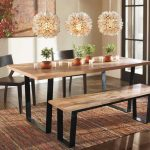Dining Room Table Seating With Table Chairs And Bench With Triple Pretty Chandelier