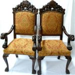 Double Stylish Wooden Chairs With Arms