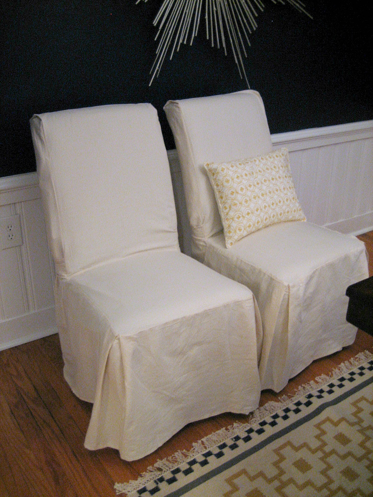 Double White Parson Chair Slipcovers With Pillow