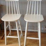 Double White Wood Bar Stools