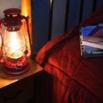 Electric Hurricane Lantern RED Converted Kerosene Oil Lamp With Metal Glass And Plastic Materials And A Handmade Item Suitable For Nightstand