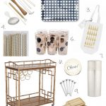 Elizabeth bar cart accessories with metal cart abd straws and stunning glass and metal shaker plus polkadot tray and white bag