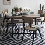 Emmerson dining table design in rectangular shape some units of dining chairs modern kitchen rug in monochrome colors