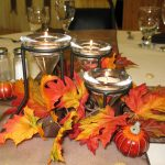 Fall Center Pieces Decoration For Dining Table With Candle And Leaves