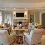 Formal White Living Room Furniture Arrangement