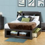 Full bed frame with storage and shelves at the headboard blue mat for bedroom