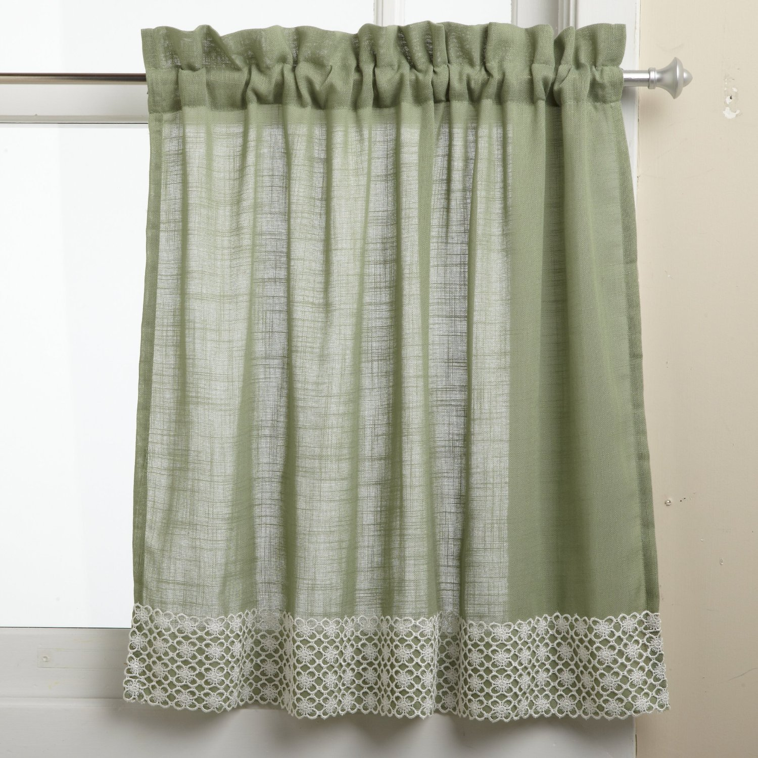 Green Kitchen Curtain Ideas: Half Window Curtains Ideas