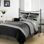 Grey And Black Color Of King Size Bedding With White Cabinet