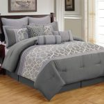 Grey King Size Bedding With Wooden Side Table And Lamp