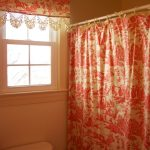 Half Red Toile Curtains With Shower Curtains