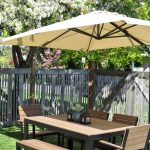 Ikea Patio Umbrella With Wooden Dining Furniture Set