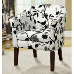 Leaves And Bird White Black Theme Of Comfortable Accent Chairs