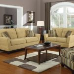 Living Room Furniture Arrangement WIth Double Sofas And Coffee Table