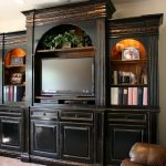 Living Room Wooden Cherry Entertaining Furniture With Black Wood Design For TV And Books