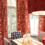 Long And Stylish Red Toile Curtains For Dining Room