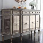 Luxury Mirrored Console Cabinet Under Round Mirror