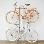 Metal rack for standing two units of bikes