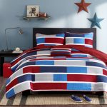 Mi-Zone-Bradley-3-Piece-Quilt-Set-for-men-bedroom-with-small-color-blocks-of-navy-medium-blue-grey-and-red-printed-on-polyester-microfiber-also-with-twill-tape-on-pillow