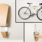 Mixed wood metal rack for hanging a bike