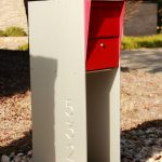 Modern mailbox design with concrete stand