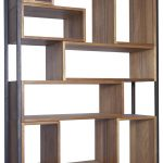 Modern wood and metal bookcase idea