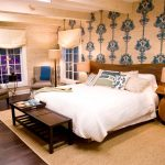 Nautical Bedroom Accessories WIth Awesome Wallpaper Large Carpet Wooden Bench And Unique Table Side Shape